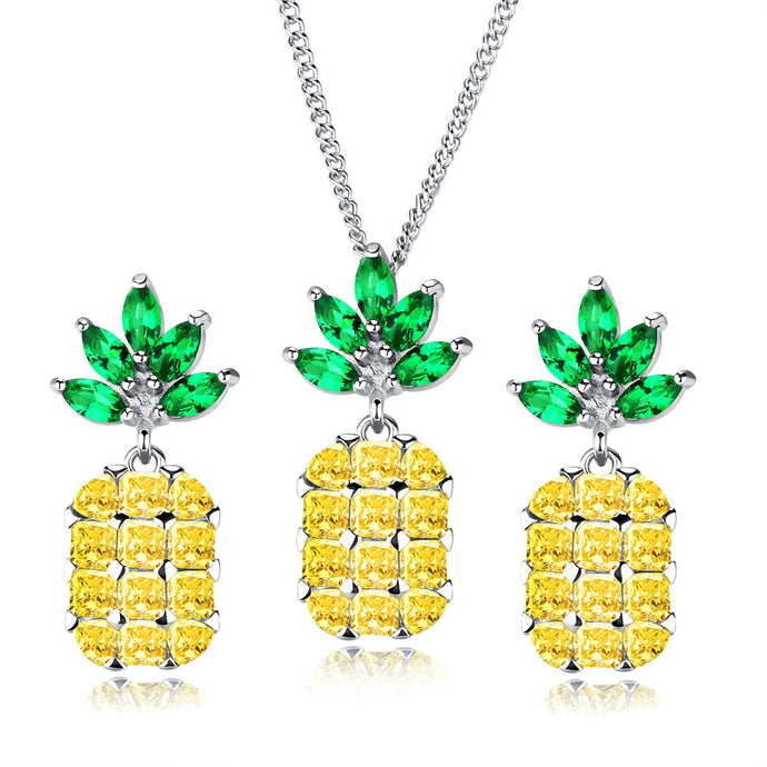 Pineapple Pendant Necklace and Earring Studs Set