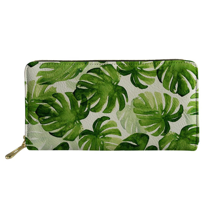 Tropical Leaves Designer Leather Wallet