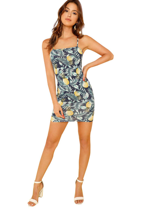 Tropical Pineapple Print Cami Bodycon Dress