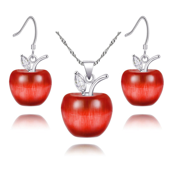 Candy Red Apple Pendant Necklace and Earrings Jewelry Set