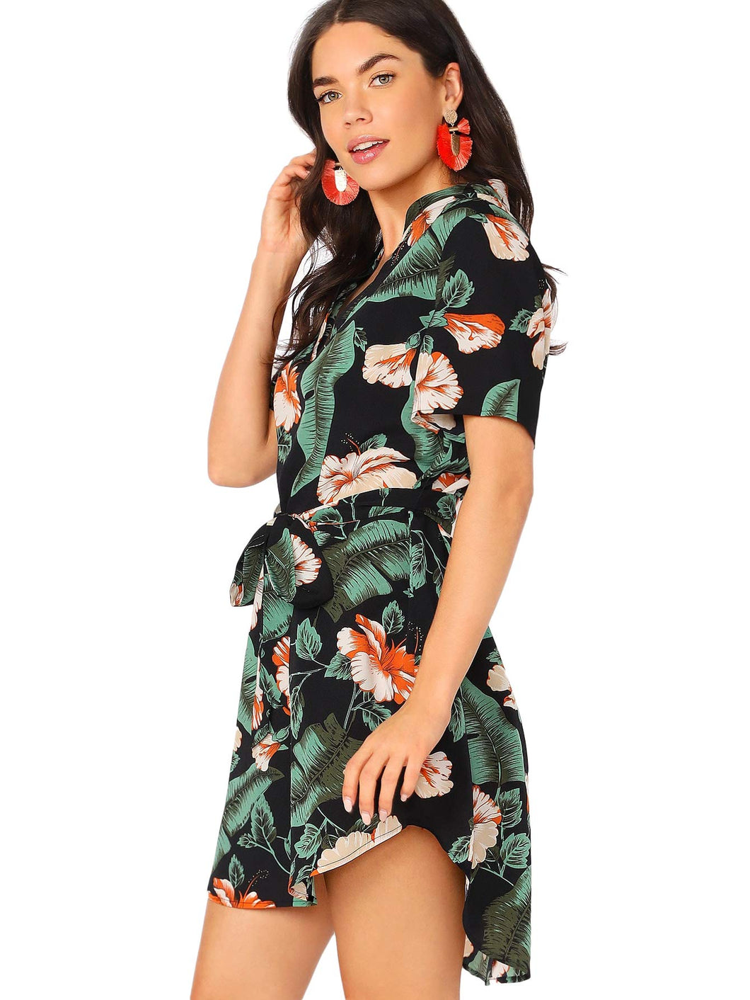Floral Print Asymmetrical High Low Dress