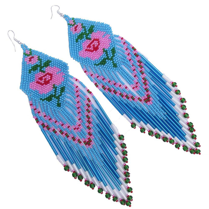 Rose Flower Beaded Earrings