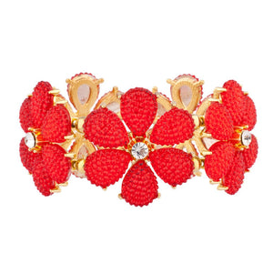 Red Floral Flower Crystal Stretch Bracelet