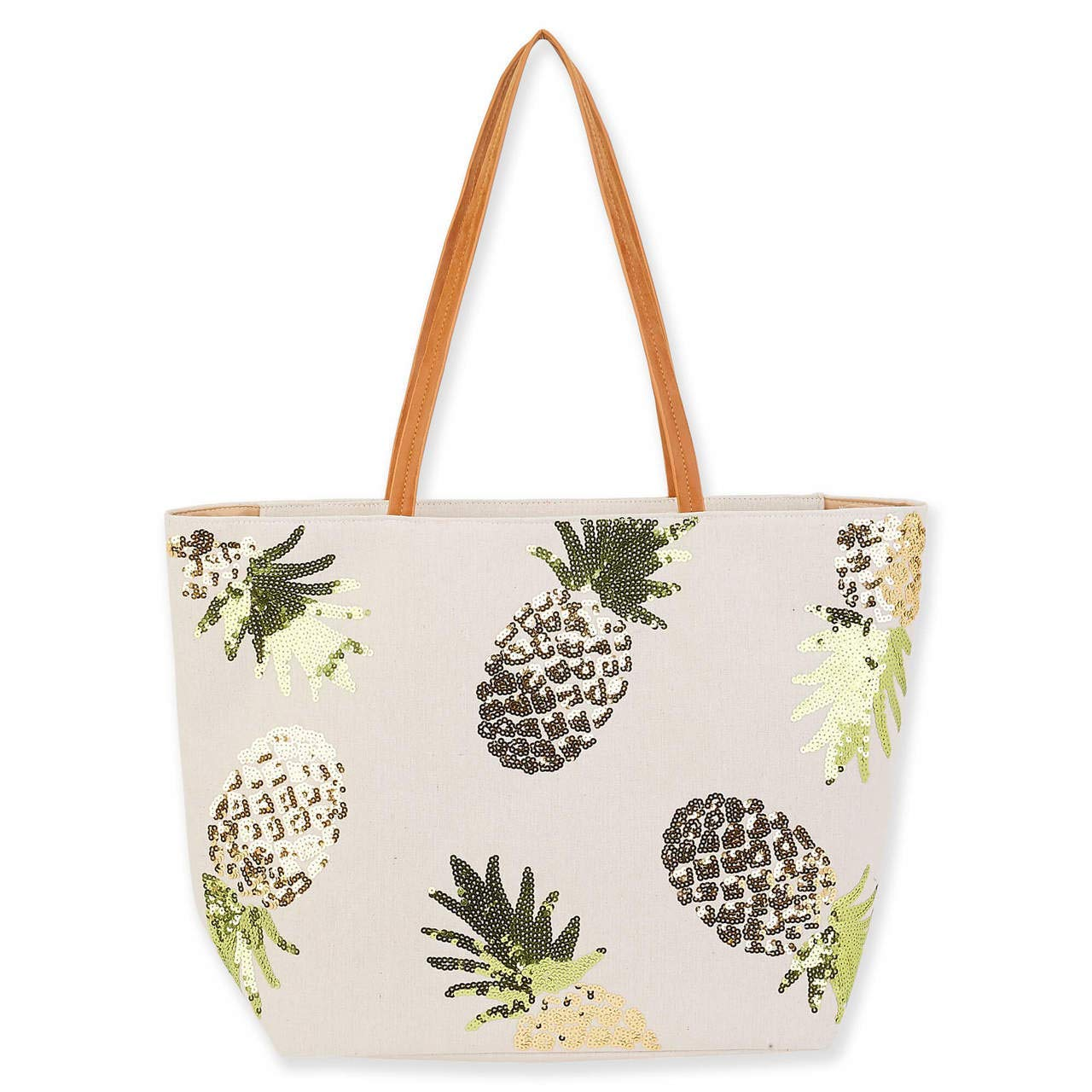 Beach Canvas Pineapple Sequins Shoulder Tote Bag