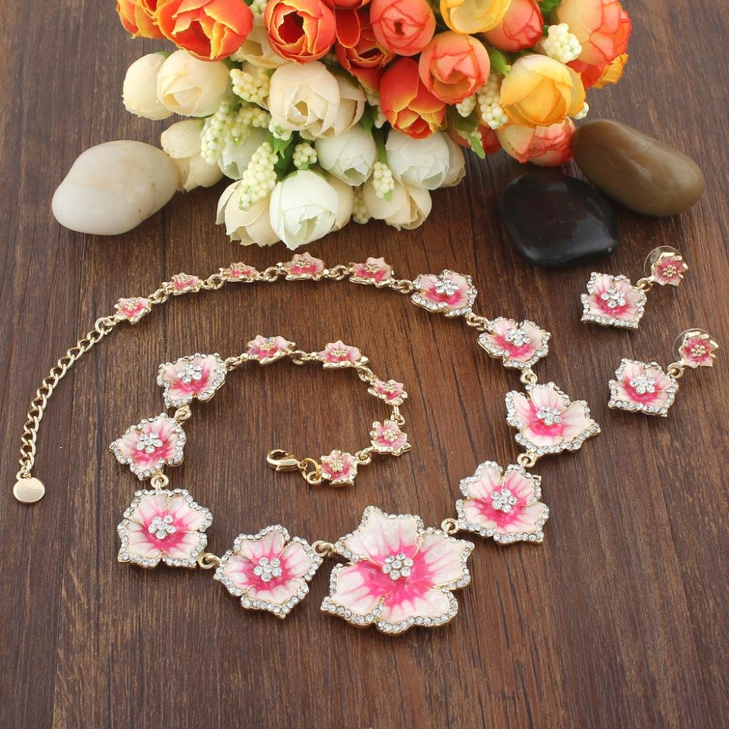 Enamel Hibiscus Necklace Earrings Set