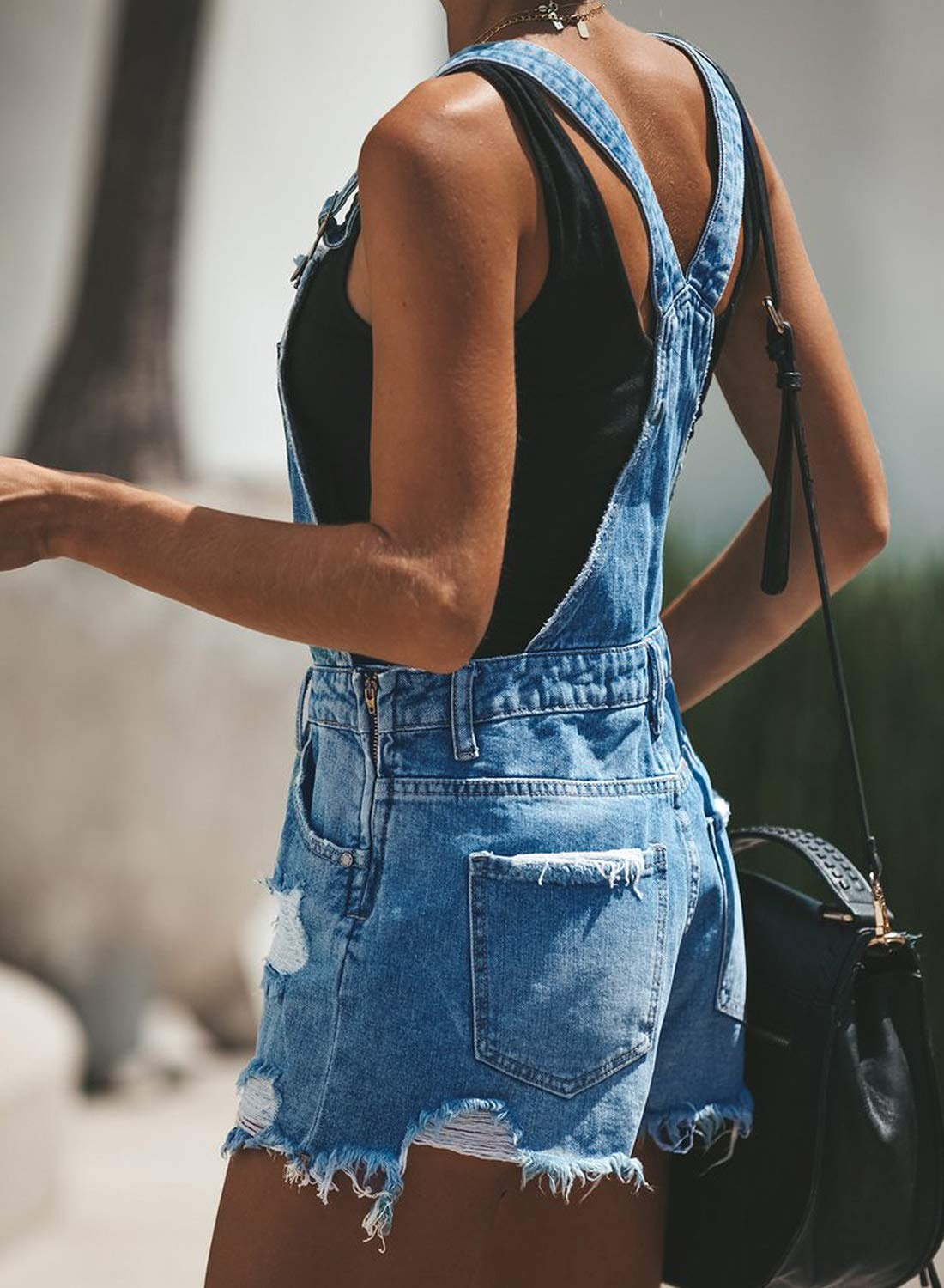 Loose Juniors Denim Overall Shorts Distressed Rompers