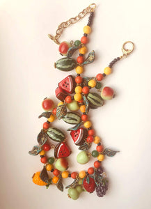Colorful Beaded Fruit and Leaf Necklace