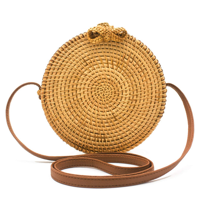 Round Rattan Bag Shoulder Basket Cross body Purse