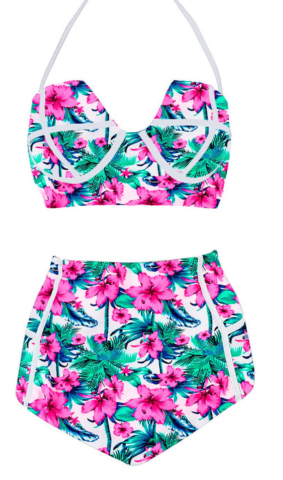 High Waist Vintage Push Up Padded Floral Swimsuit