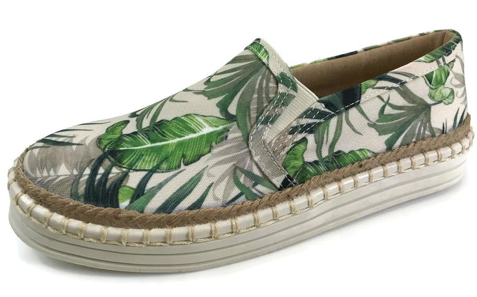 Green Leaves Print Fashion Slip On Sneakers