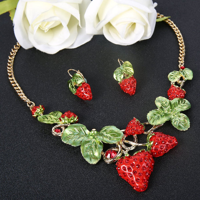 Tropical Strawberry Leaf Necklace and Earrings Set