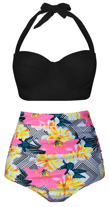 Floral Print High Waisted Bikini Two Piece Swimsuit