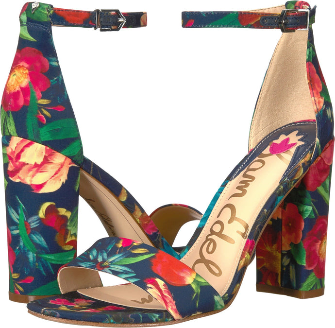 Tropical Floral Print Heeled Sandal