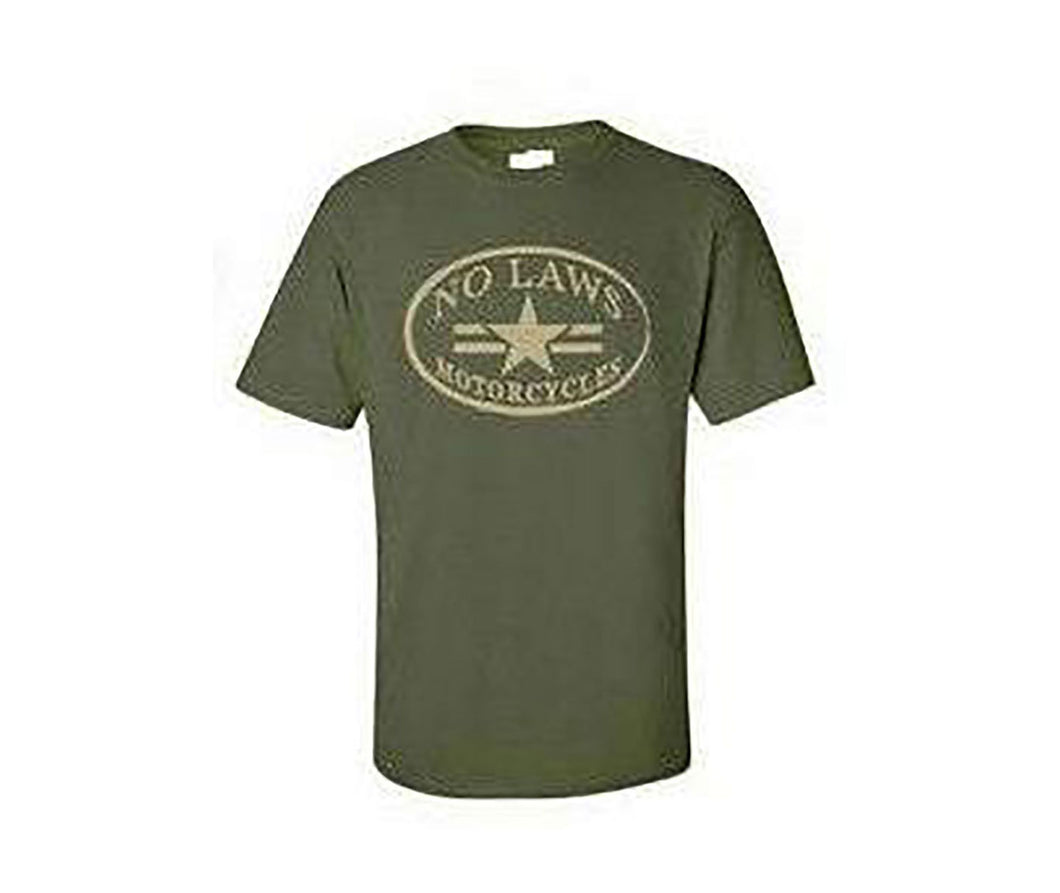 NO LAWS MOTORCYCLES OVAL - HEATHER GREEN - No Laws® Brand