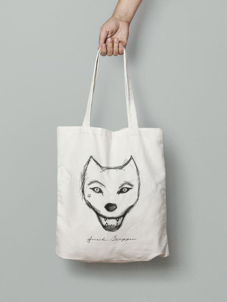 Henrik Berggren Wolf's Heart Totebag (White or Black)