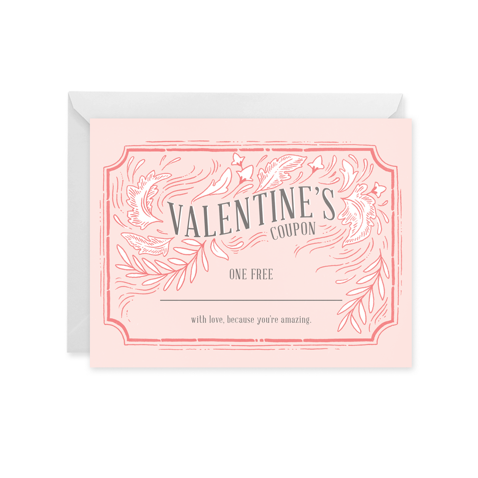 Paper Raven Co. - Valentine's Coupon Card - Customizable