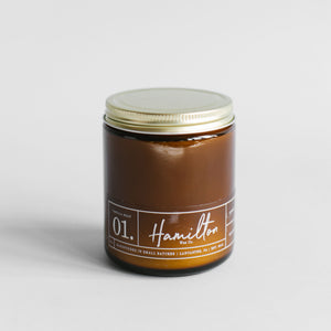 Hamilton Wax Co. - 01 Vanilla Bean Scented Candle - Amber Glass Jar