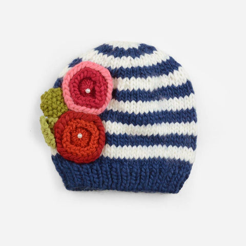 The Blueberry Hill - Bree with Flowers Knit Hat