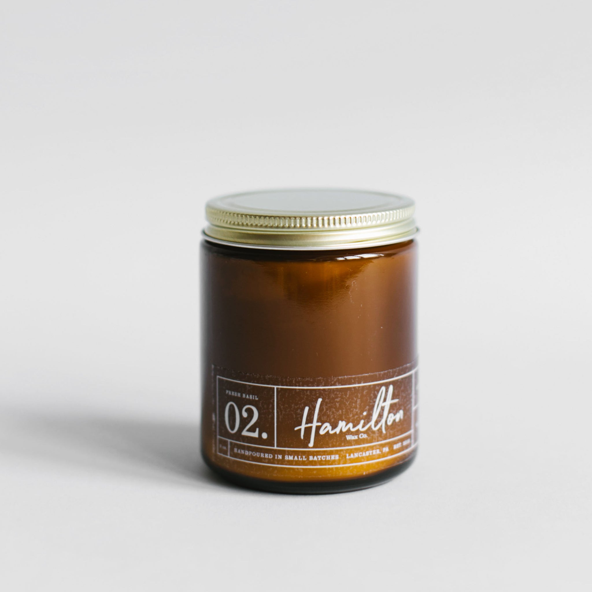 Hamilton Wax Co. - 02 Fresh Basil Scented Candle - Amber Glass Jar