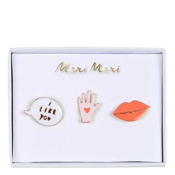 Lips, Hand & Bubble Enamel Pins