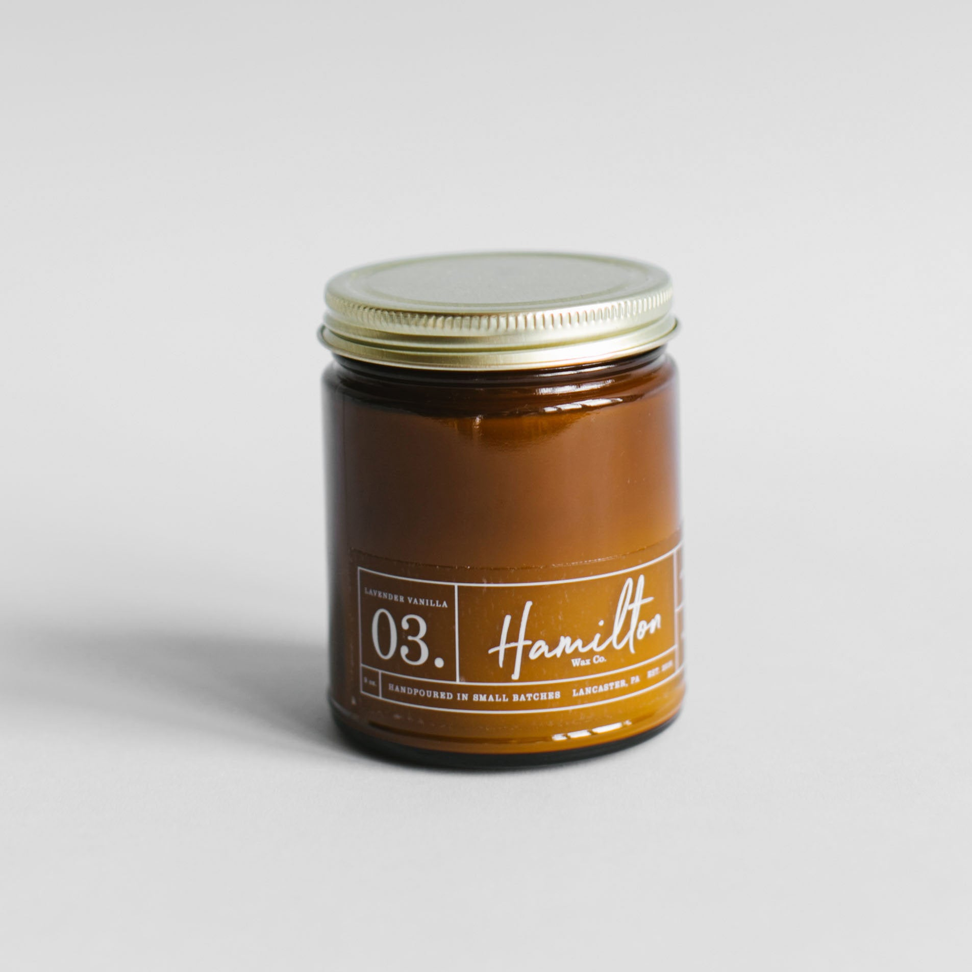 Hamilton Wax Co. - 03 Lavender Vanilla Scented Candle - Amber Glass Jar