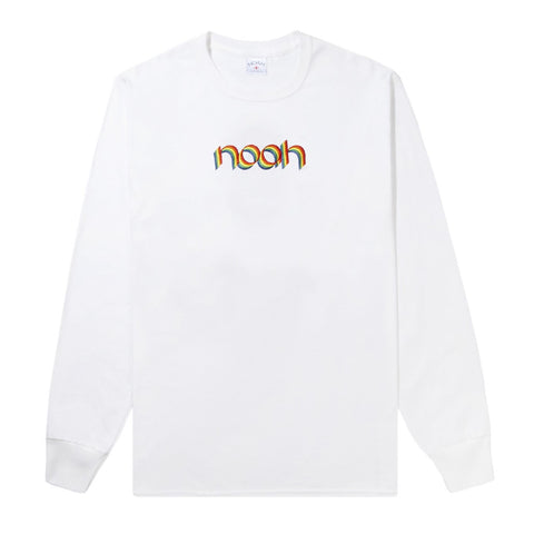 NOAH - Rainbow Embroidered LS Tee - White