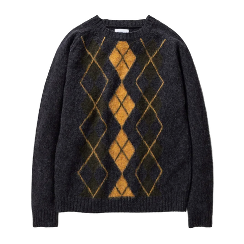 Norse Projects - Birnir Brushed Argyle Sweater - Charcoal Melange