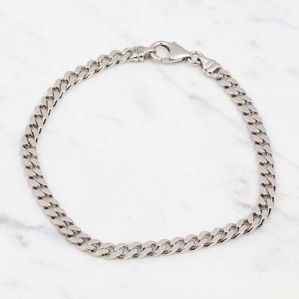 Curb Chain Armband for Him - Weißgold