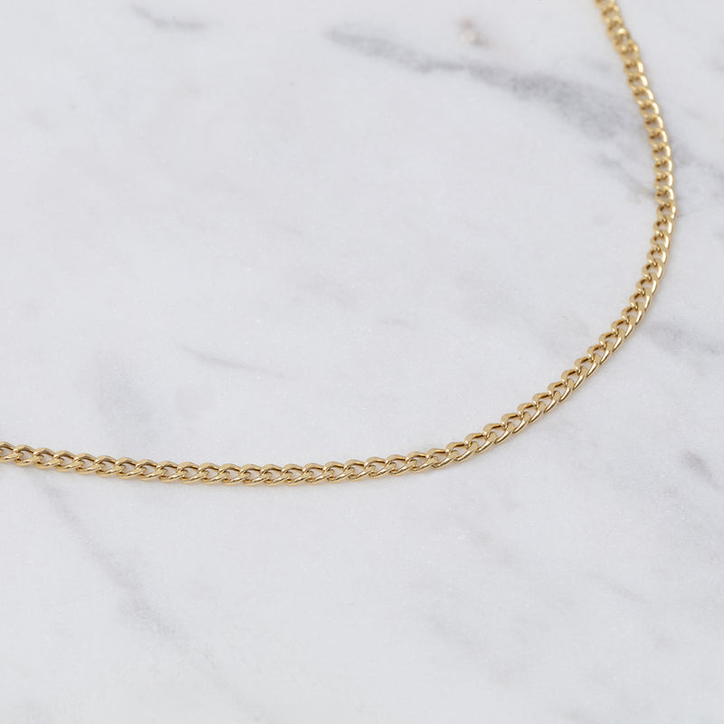 2mm Curb Chain Halskette - Gelbgold