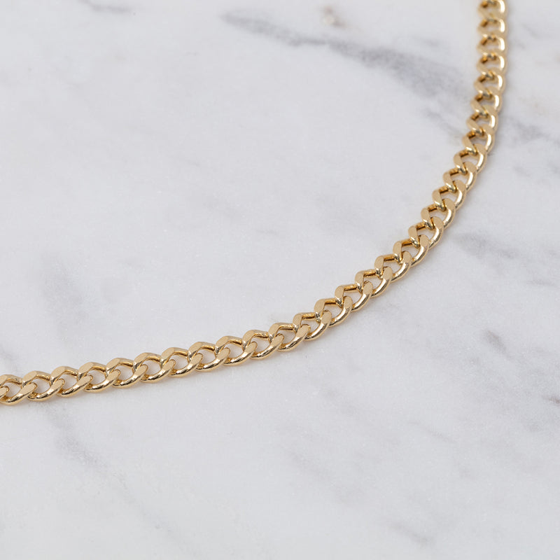 4mm Curb Chain Halskette - Gelbgold