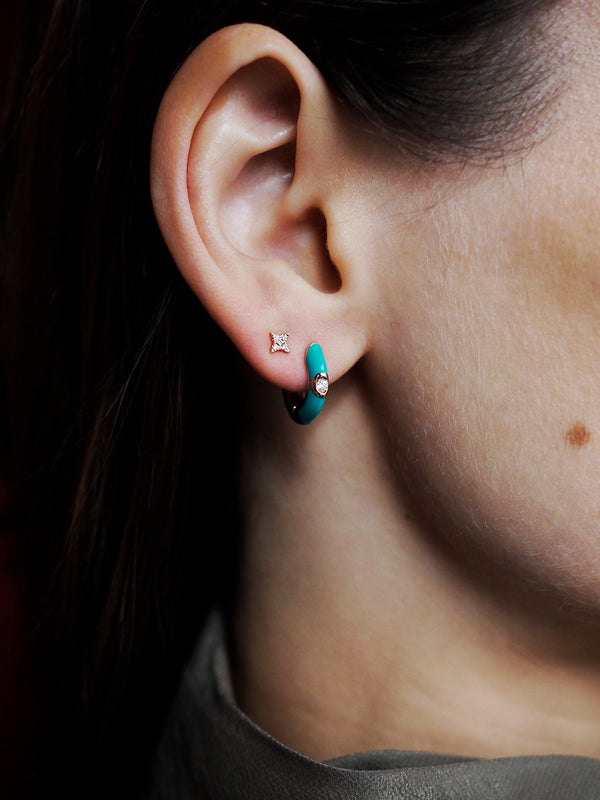 Emaile Diamant Hoops - Turquoise - Roségold
