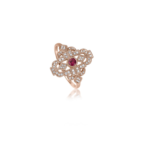 Art deco Diamant Rubin Ring - 0,15 ct - Roségold