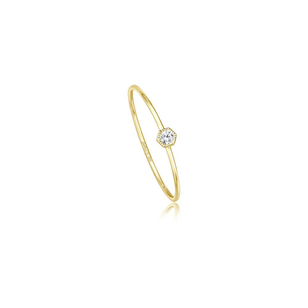 Hexagon Ring - 0,03 ct Brillant - Gelbgold