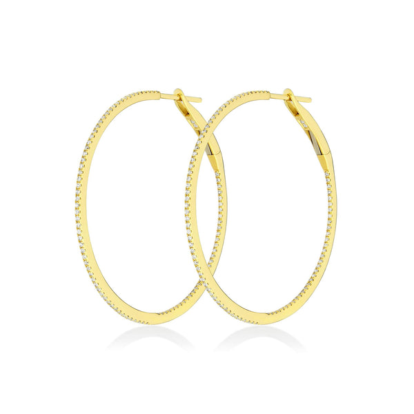 Diamond Hoops Large - Gelbgold