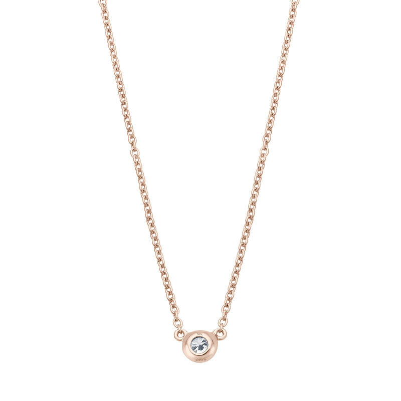 Solitaire Necklace - Runde Fassung - 0.10 ct - Roségold