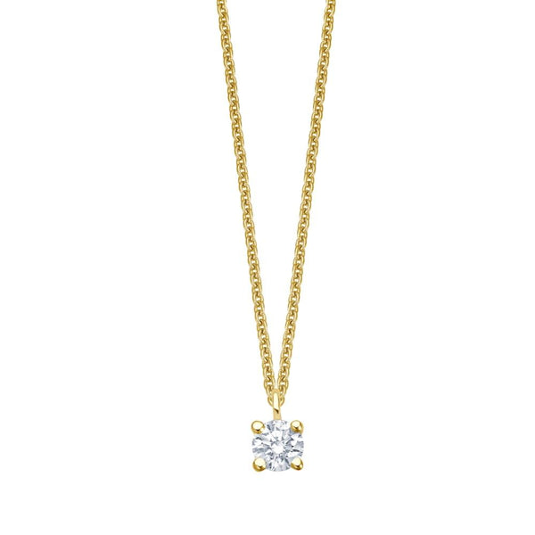 Solitaire Necklace - Gelbgold 4er Krappen Fassung - 0.10 ct Brillant