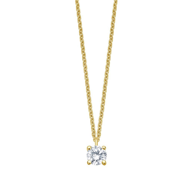 Solitaire Necklace - Gelbgold 4er Krappen Fassung - 0.15 ct Brillant