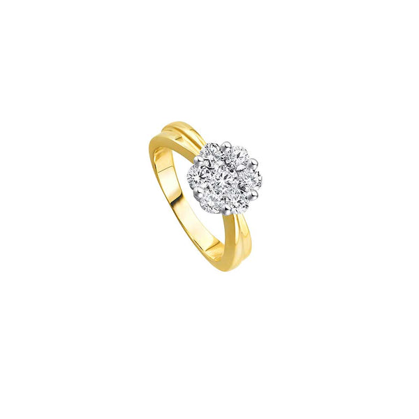 Diamant Blüten Ring - 1,00 ct - Bicolor