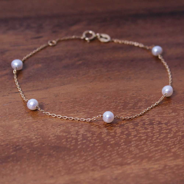 Delicate Pearl Armband - Gelbgold