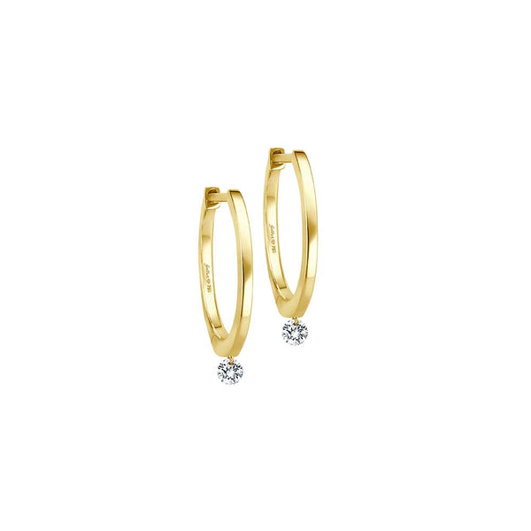 Diamond Drop Hoops - Gelbgold