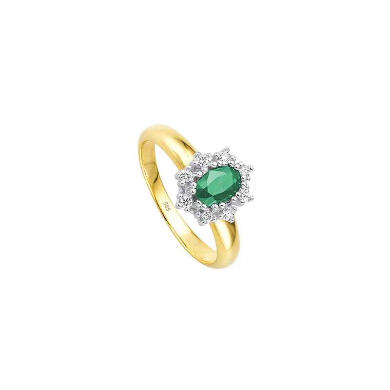 Entourage Smaragd Ring - 0,20 ct - Bicolor