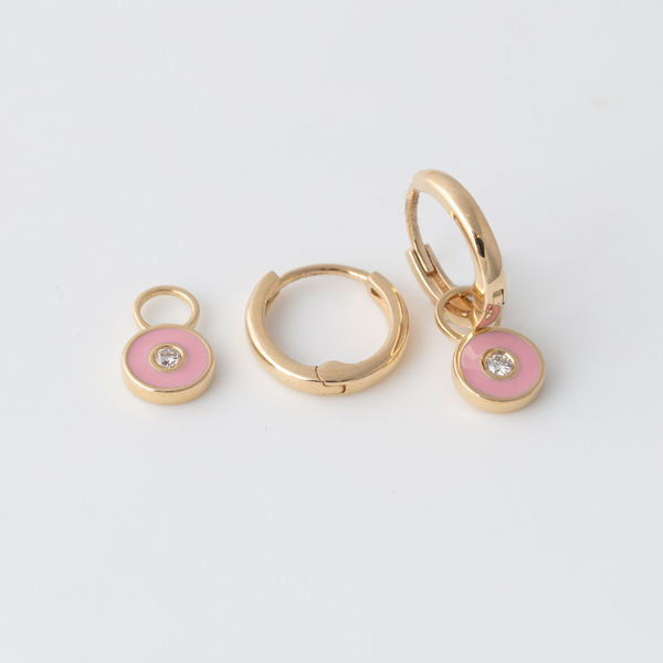 Emaile Diamant Plättchen Hoops - Rosa - Gelbgold