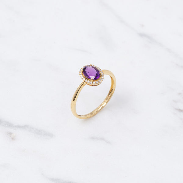 Entourage Amethyst Ring - 0,68 ct - Gelbgold