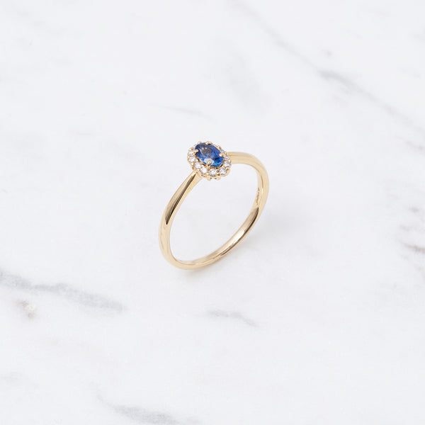 Entourage Saphir Ring - 0,34 ct - Gelbgold