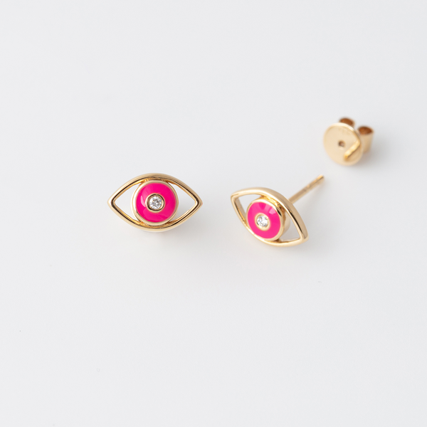 Emaile Evil Eye Diamant Ohrstecker - Pink - Gelbgold