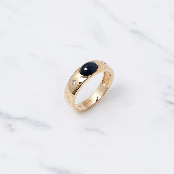 Cabochon Saphir Ring - Gelbgold