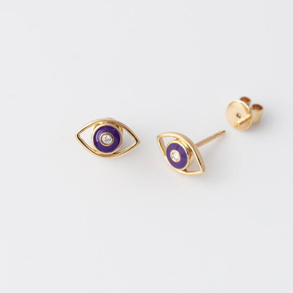 Emaile Evil Eye Diamant Ohrstecker - Lila - Gelbgold