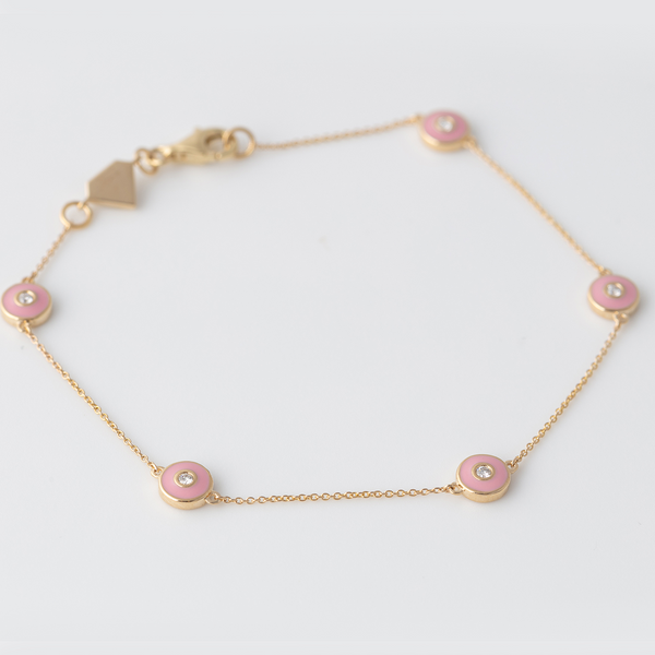 Emaile Diamant Plättchen Armband - Rosa - Gelbgold