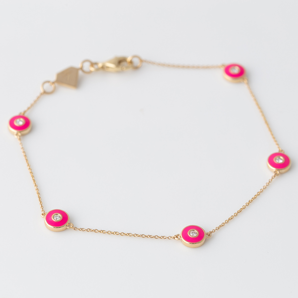 Emaile Diamant Plättchen Armband - Pink - Gelbgold