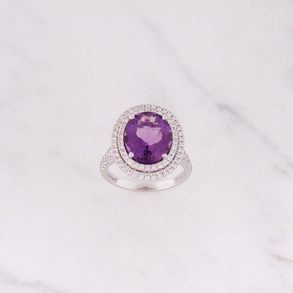 Cocktail Amethyst Ring - Weißgold